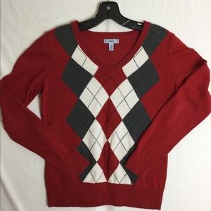 Izod Diamond Argyle Red Gray Sweater Small